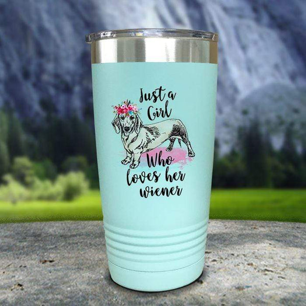 A Girl Who Loves Her Weiner Color Printed Tumblers Tumbler Nocturnal Coatings 20oz Tumbler Mint