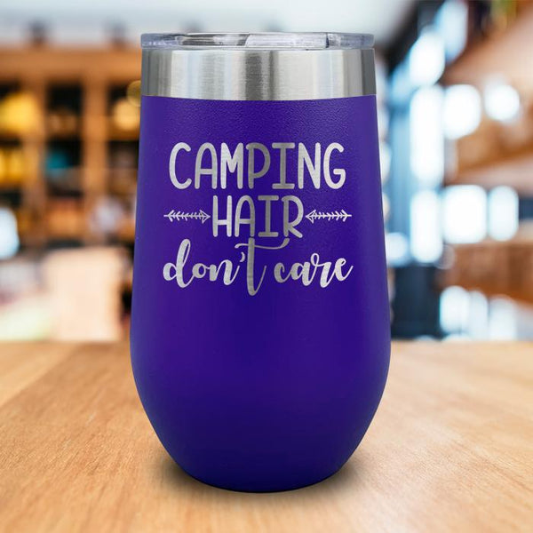 Camping Hair Don't Care Engraved Wine Tumbler