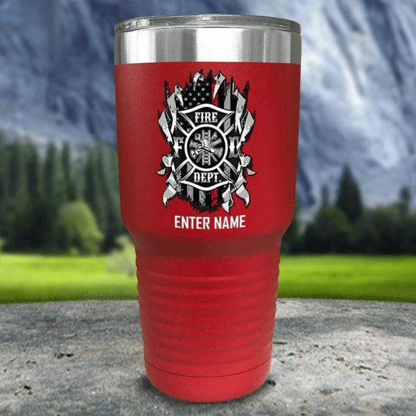 Personalized Firefighter Ripped Color Printed Tumblers Tumbler Nocturnal Coatings 30oz Tumbler Red