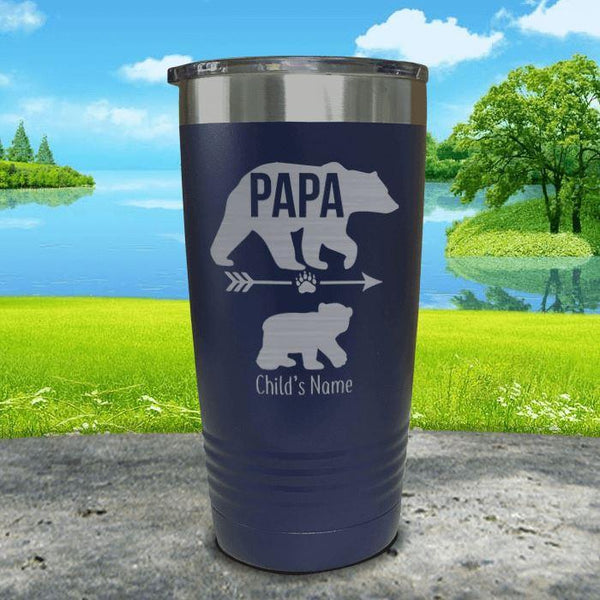 Papa Bear (CUSTOM) With Child's Name Engraved Tumblers Tumbler ZLAZER 20oz Tumbler Navy