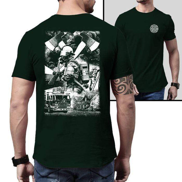 Firefighter Life Premium Tee T-Shirts CustomCat Forest Green X-Small