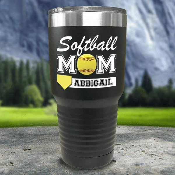 Personalized Softball Mom Color Printed Tumblers Tumbler Nocturnal Coatings 30oz Tumbler Black