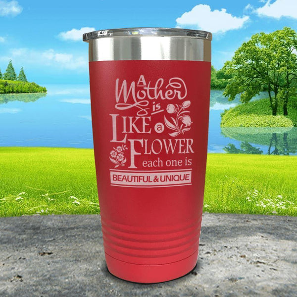 A Mother Is Like A Flower Engraved Tumbler Tumbler ZLAZER 20oz Tumbler Red
