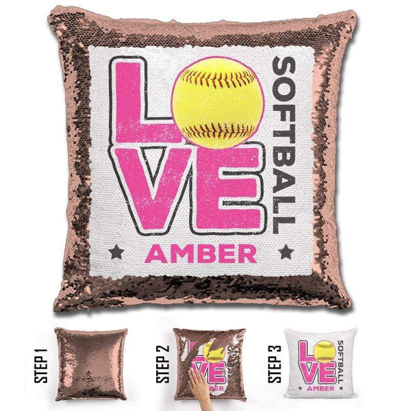 Personalized LOVE Softball Magic Sequin Pillow Pillow GLAM Rose Gold Pink