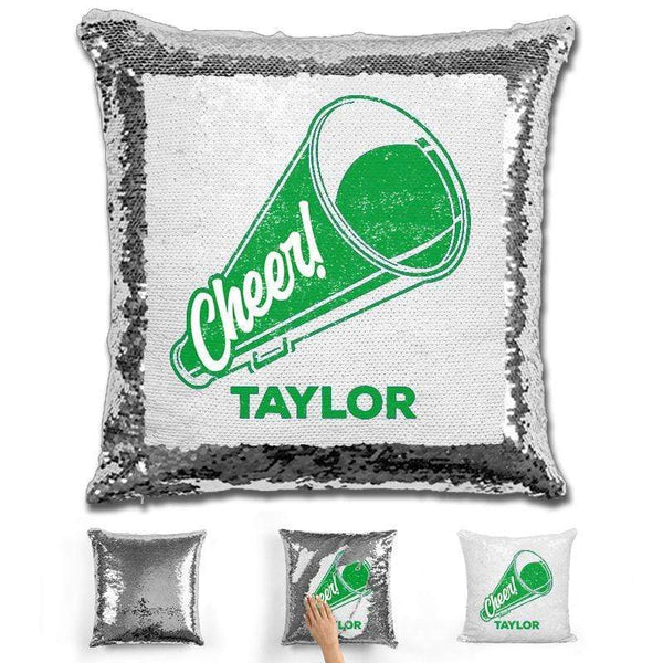 Cheerleader Personalized Magic Sequin Pillow Pillow GLAM Silver Green