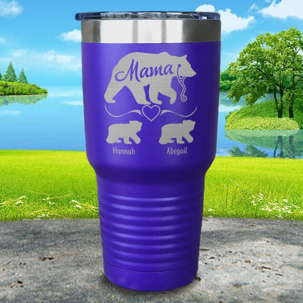 Mama Bear Nurse (CUSTOM) With Child's Name Engraved Tumblers Tumbler ZLAZER 30oz Tumbler Royal Purple