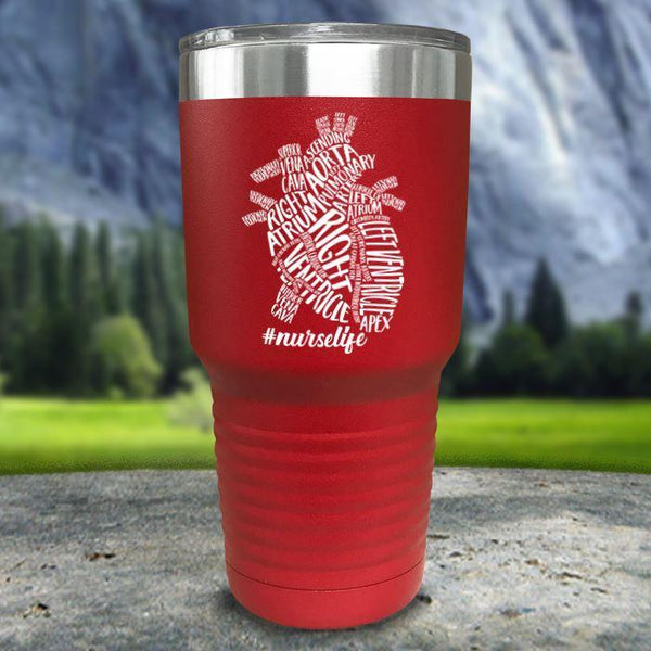 Nurse Descriptive Heart Color Printed Tumblers Tumbler Nocturnal Coatings 30oz Tumbler Red