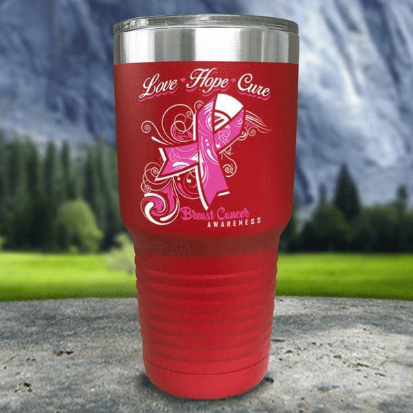 Love Hope Cure Breast Cancer Color Printed Tumblers Tumbler Nocturnal Coatings 30oz Tumbler Red