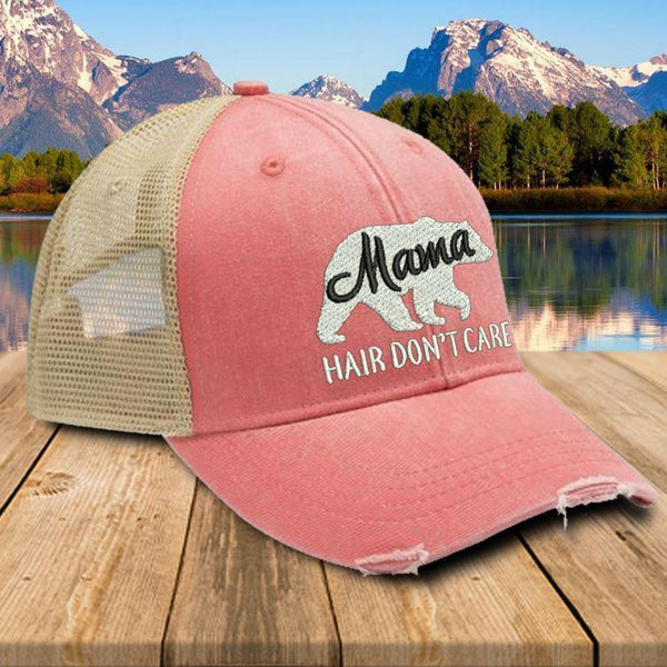 Mama Bear Hair Don't Care Premium Trucker Hat Hat Edge Coral