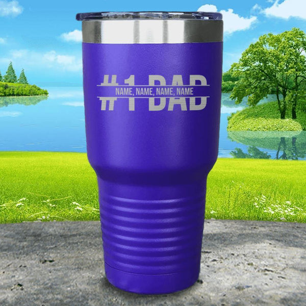 #1 Dad (CUSTOM) With Child's Name Engraved Tumbler Tumbler ZLAZER 30oz Tumbler Royal Purple