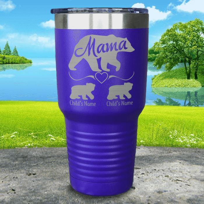 Personalized Mama Bear Tumbler. Lemons Are Blue Custom Mama Bear Tumbler is etched with up to 10 kids names. This double-wall insulated stainless steel mama bear personalized tumbler is our best selling laser engraved tumbler. Mama Bear Custom Tumbler comes in 16 colors including black, blue, red, hot pink, seafoam mint, light blue, lavender, light purple, navy, gray, orange, maroon, white, green, yellow, and coral salmon powder coated styles.