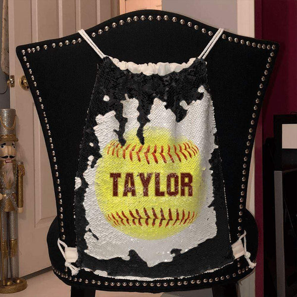 Softball Personalized Magic Sequin Backpacks Sequin Backpack BLINGZ Black