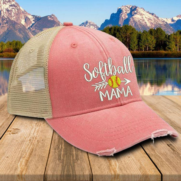 Softball Mama Trucker Hat Hat Edge Coral