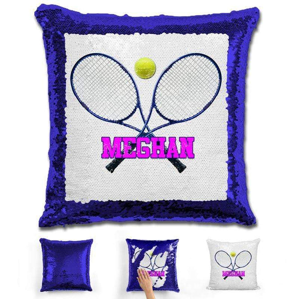 Tennis Personalized Magic Sequin Pillow Pillow GLAM Blue Pink