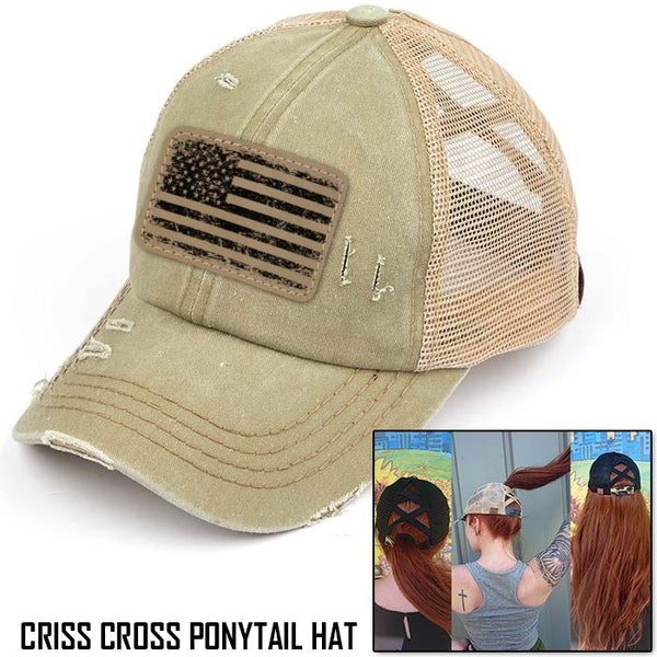 Engraved Distressed American Flag Patch Premium Ponytail Hat
