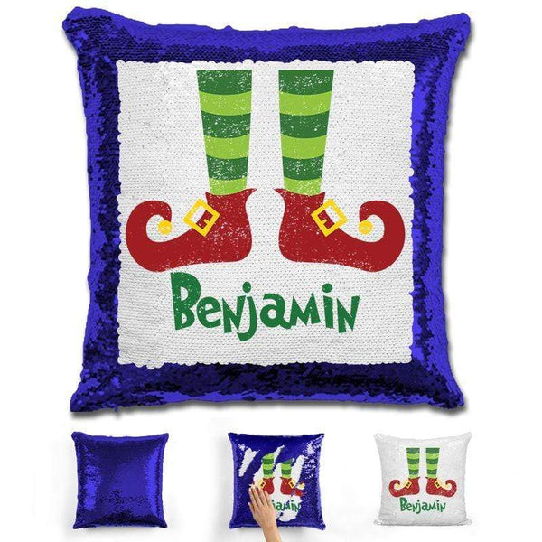 Personalized Elf Legs Christmas Magic Sequin Pillow Pillow GLAM Blue