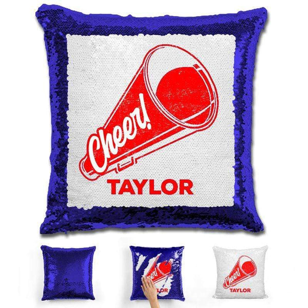 Cheerleader Personalized Magic Sequin Pillow Pillow GLAM Blue Red