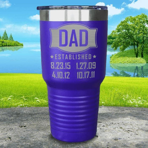 Dad Established CUSTOM Dates Engraved Tumblers Tumbler ZLAZER 30oz Tumbler Royal Purple