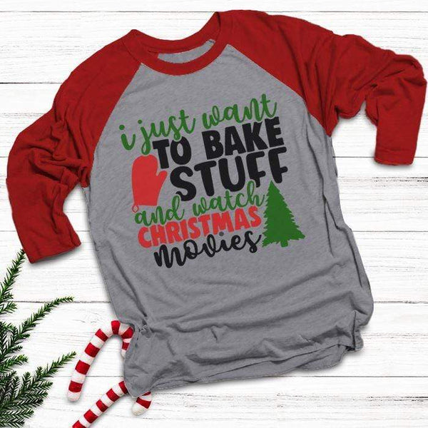 Want To Bake Watch Christmas Movies Raglan T-Shirts CustomCat Heather Grey/Red X-Small