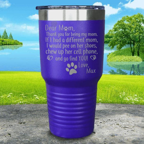 PERSONALIZED Dear Dog Mom Love Your Dog Engraved Tumbler Tumbler ZLAZER 30oz Tumbler Royal Purple