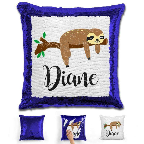Sloth Personalized Magic Sequin Pillow Pillow GLAM Blue