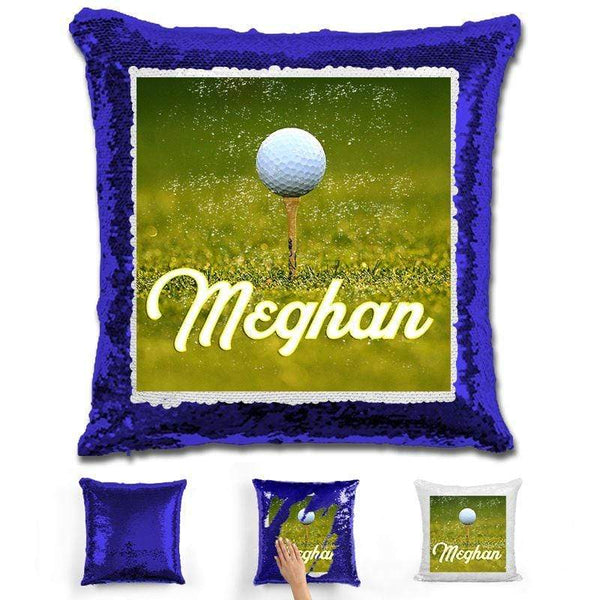 Golf Personalized Flip Sequin Pillow Pillow GLAM Blue