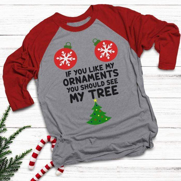 Like My Ornaments See My Tree Raglan T-Shirts CustomCat Heather Grey/Red X-Small