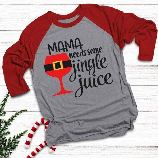 Mama Needs Jingle Juice Raglan T-Shirts CustomCat Heather Grey/Red X-Small