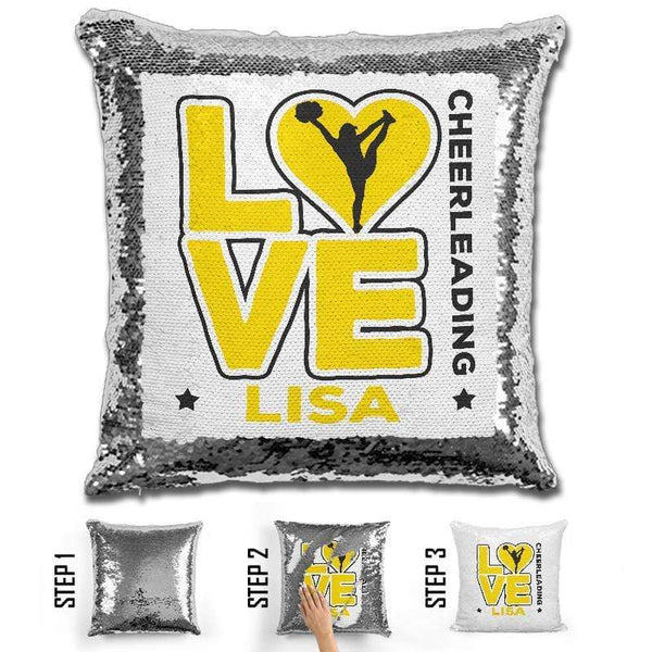 Personalized LOVE Cheer Magic Sequin Pillow Pillow GLAM Yellow