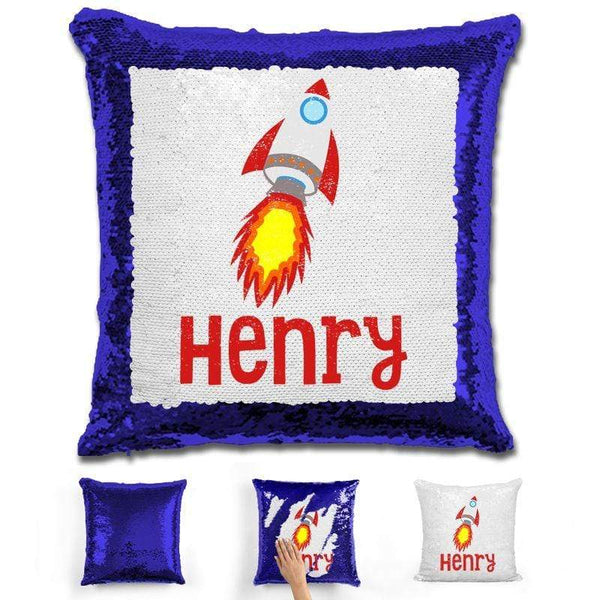 Rocket Ship Personalized Magic Sequin Pillow Pillow GLAM Blue
