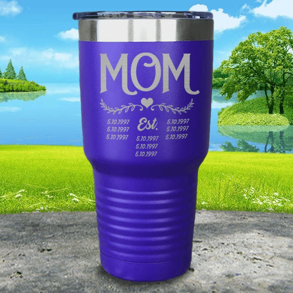 Mom Est (CUSTOM) Engraved Tumblers Tumbler ZLAZER 30oz Tumbler Royal Purple