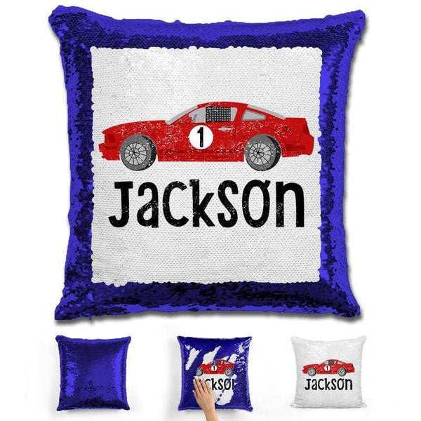 Race Car Personalized Magic Sequin Pillow Pillow GLAM Blue