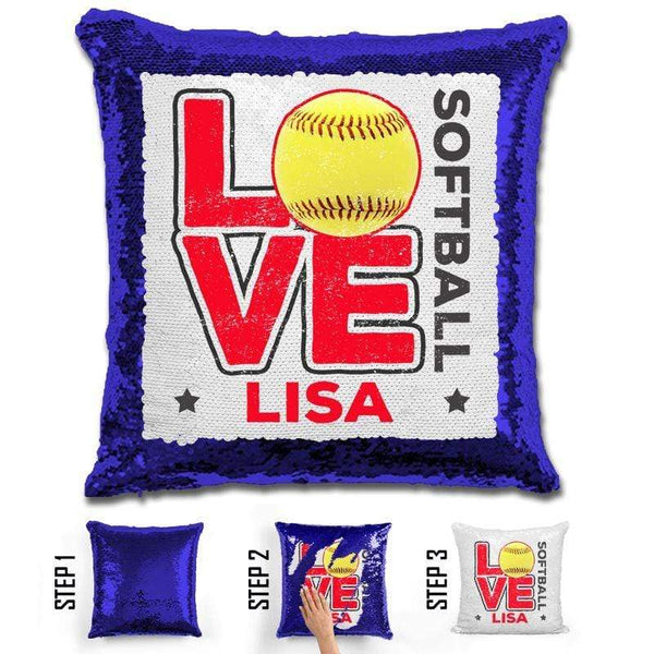 Personalized LOVE Softball Magic Sequin Pillow Pillow GLAM Blue Red