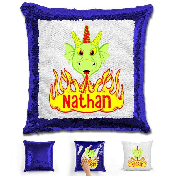 Dragon Personalized Magic Sequin Pillow Pillow GLAM Blue