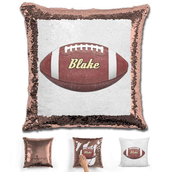 Football Personalized Magic Sequin Pillow Pillow GLAM Rose Gold
