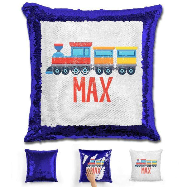 Train Personalized Magic Sequin Pillow Pillow GLAM Blue