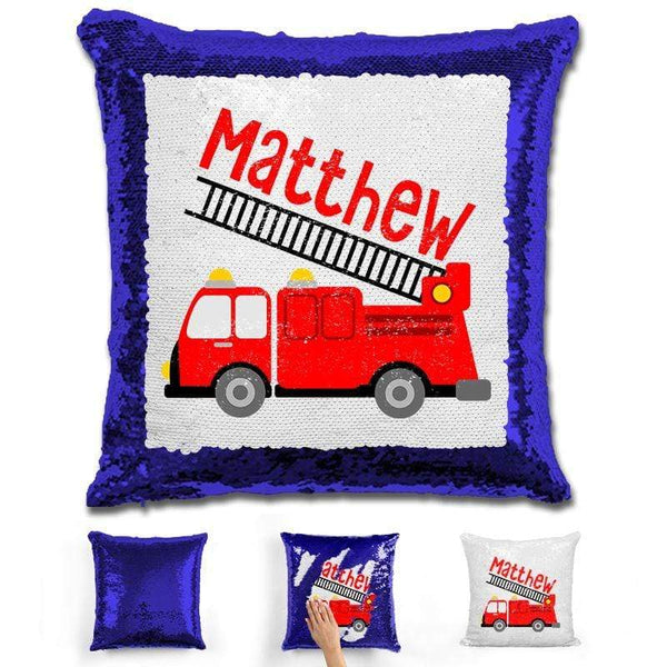 Firetruck Personalized Magic Sequin Pillow Pillow GLAM Blue