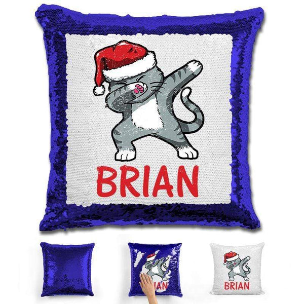 "Personalized ""Dab"" Cat Christmas Magic Sequin Pillow Pillow GLAM Blue"