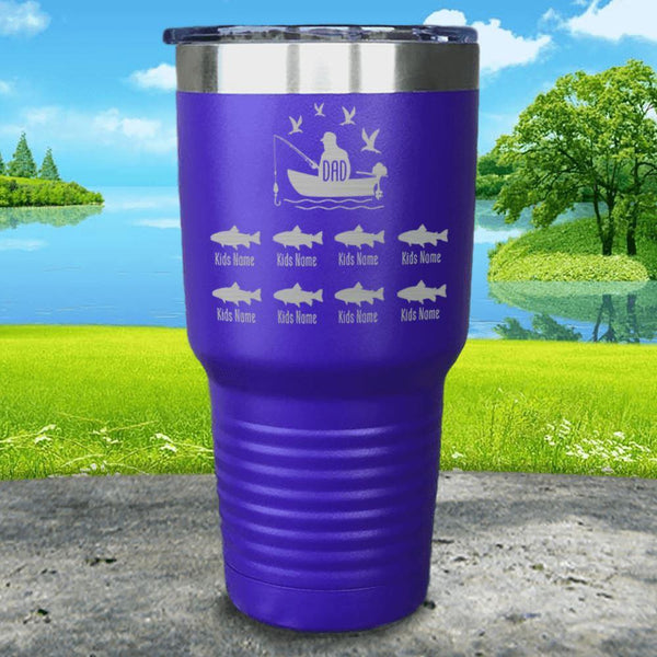 Fishing Dad (CUSTOM) With Child's Name Engraved Tumblers Tumbler ZLAZER 30oz Tumbler Royal Purple