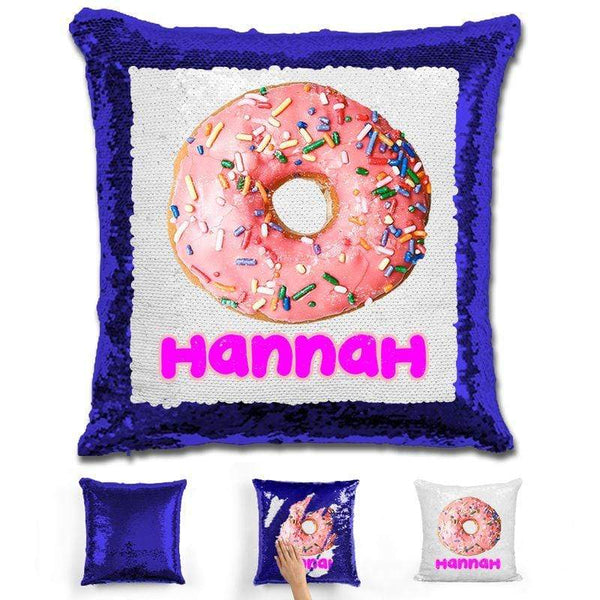 Donut Personalized Magic Sequin Pillow Pillow GLAM Blue