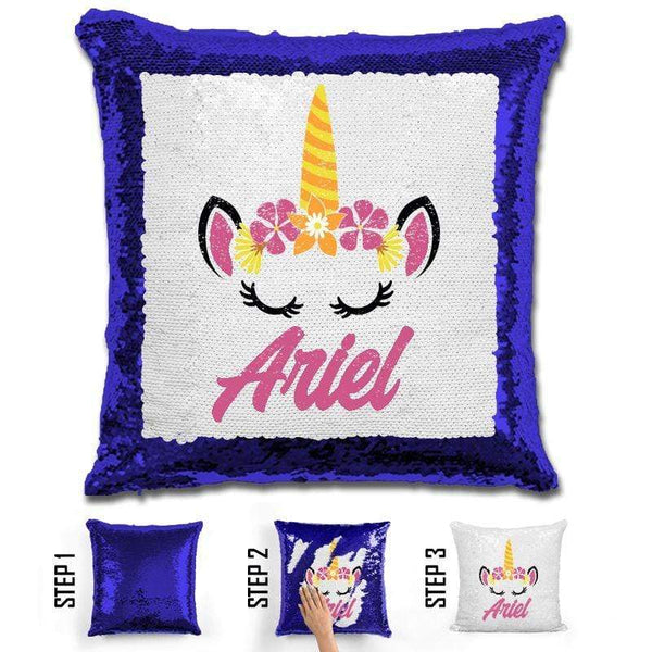 Unicorn Personalized Magic Sequin Pillow Pillow GLAM Blue