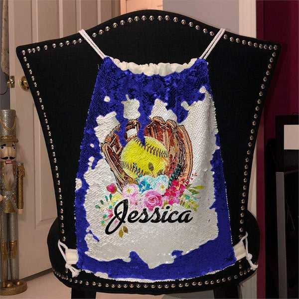 Softball Glove Personalized Magic Sequin Backpacks Sequin Backpack BLINGZ Blue