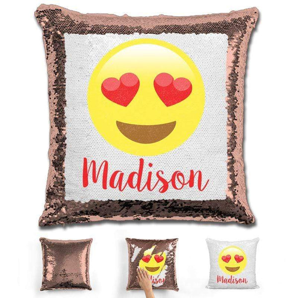 Heart Eyes Emoji Personalized Magic Sequin Pillow Pillow GLAM Rose Gold