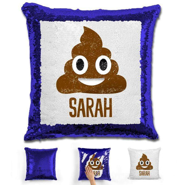 Personalized Poop Emoji Personalized Magic Sequin Pillow Pillow GLAM Blue