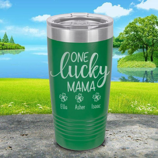 Lucky Mama (CUSTOM) With Child's Name Engraved Tumblers Tumbler ZLAZER 20oz Tumbler