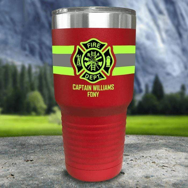 Personalized Firefighter FULL Wrap Color Printed Tumblers Tumbler Nocturnal Coatings 30oz Tumbler Red