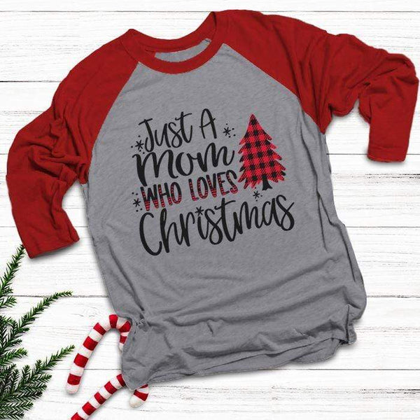 Mom Who Loves Christmas Raglan T-Shirts CustomCat Heather Grey/Red X-Small