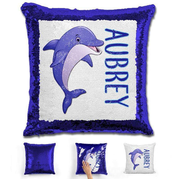 Dolphin Personalized Magic Sequin Pillow Pillow GLAM Blue