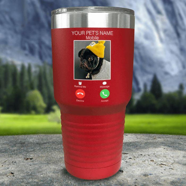 Personalized Pet Name & Photo Phone Color Printed Tumblers Tumbler Nocturnal Coatings 30oz Tumbler Red