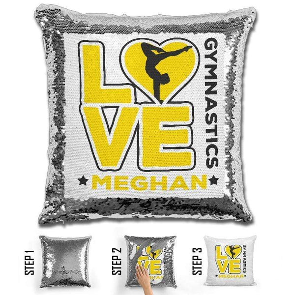 Personalized LOVE Gymnastics Magic Sequin Pillow Pillow GLAM Yellow